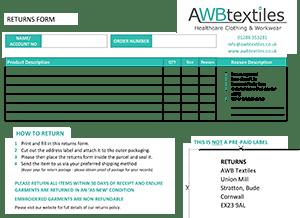 AWB Textiles Returns Form