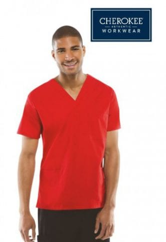 Cherokee scrub top shown in red