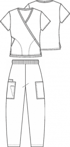 Composition of medical wrap top and elasticated trousers