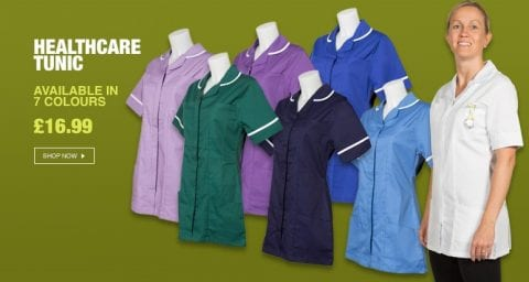 The full range of our new healthcare tunics