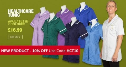 Our 10% off the latest range of healthcare tunics