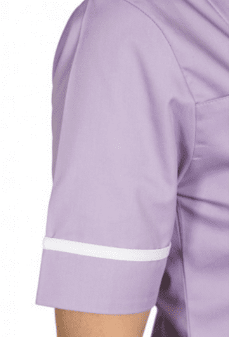 Detail of sleeve on the Galaxy healthcare tunic in lilac